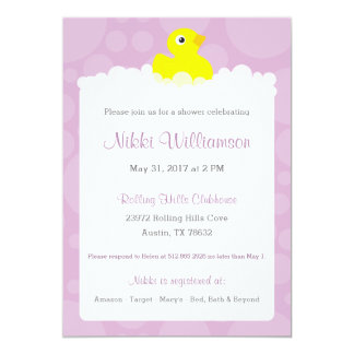Rubber Ducky Baby Shower Invitation - Lilac