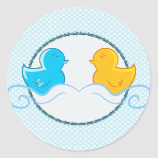 rubber ducky baby shower seal round stickers