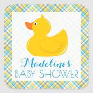 Rubber Ducky Baby Shower Square Sticker