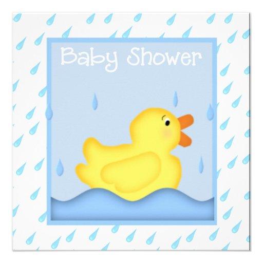 rubber ducky blue baby shower invitation 13 cm x 13 cm square