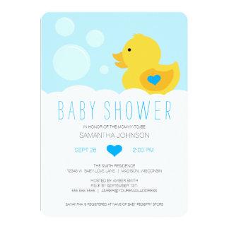 Rubber Ducky Bubble Bath Boy Baby Shower 13 Cm X 18 Cm Invitation Card