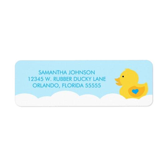 Rubber Ducky Bubble Bath Boy Baby Shower Return Address Label