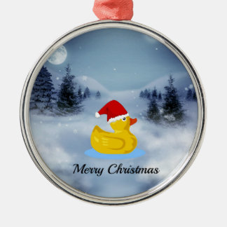 Rubber Ducky Christmas Greetings Silver-Colored Round Decoration