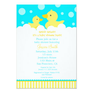 "Rubber Ducky Duck Baby Shower Invitation 5"" X 7"" Invitation Card"