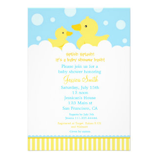 Rubber Ducky Duck Baby Shower Invitation for girl