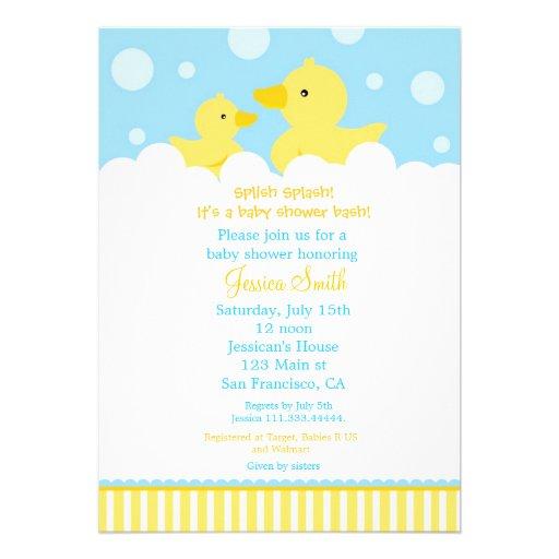 rubber ducky duck baby shower invitation for girl 5 x 7 invitatio