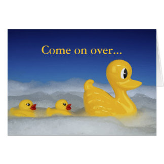 Rubber Ducky Family In Bath Card