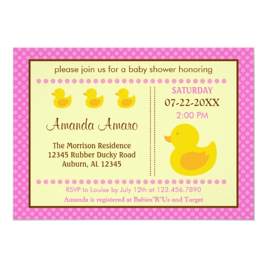 Rubber Ducky Girl Baby Shower Invitation