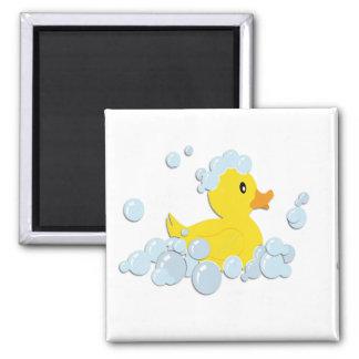 Rubber Ducky in Bubbles Square Magnet