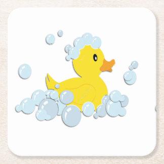 Rubber Ducky in Bubbles Square Paper Coaster