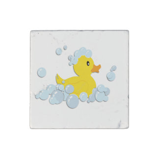 Rubber Ducky in Bubbles Stone Magnet
