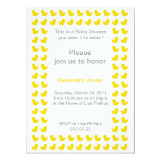 "Rubber Ducky invitation for Baby Shower yellow 6.5"" X 8.75"" Invitation Card"