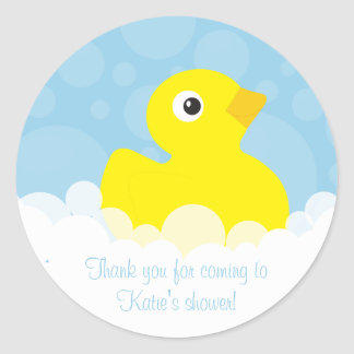 Rubber Ducky Thank You Stickers - Blue