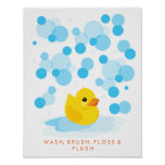 Rubber Ducky | Wash, Brush, Floss & Flush Print