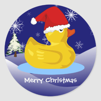 Rubber Ducky's Christmas Classic Round Sticker