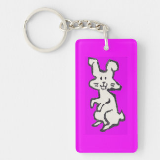 Rubber Stamp Bunny Rectangular Acrylic Keychain