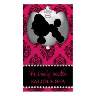 Rubelite Pink Jeweled Damask Dog Grooming Spa Business Card