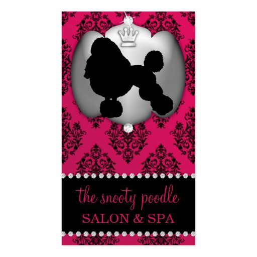 Rubelite Pink Jeweled Damask Dog Grooming/Spa Business Card