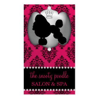Rubelite Pink Jeweled Damask Dog Grooming/Spa Pack Of Standard Business Cards
