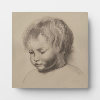 Rubens Style Portrait Drawing of Little Boy Plaque