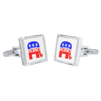 Rubio For President 2016 Elephant Silver Finish Cufflinks