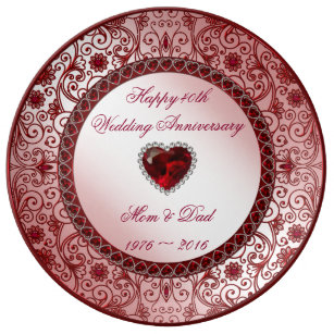40th Wedding Anniversary Gifts.Ruby 40th Wedding Anniversary Porcelain Plate