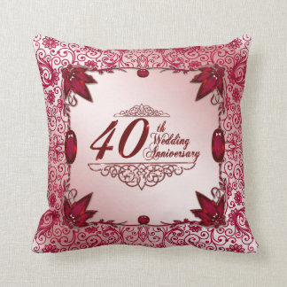 Ruby 40th Wedding Anniversary Throw Pillow