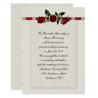 Ruby and Red Roses Ribbon Post Wedding Card