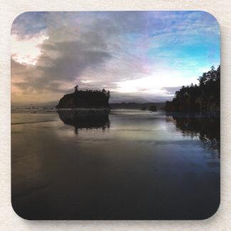 Ruby Beach Sunset Reflection Coaster