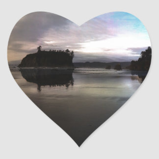 Ruby Beach Sunset Reflection Heart Sticker