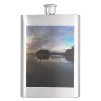 Ruby Beach Sunset Reflection Hip Flask