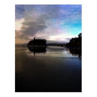Ruby Beach Sunset Reflection Postcard