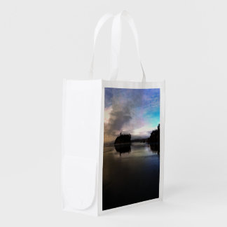 Ruby Beach Sunset Reflection Reusable Grocery Bag