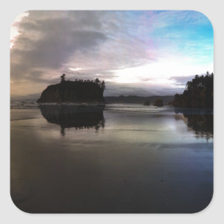 Ruby Beach Sunset Reflection Square Sticker