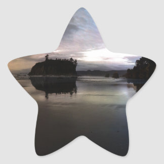 Ruby Beach Sunset Reflection Star Sticker