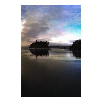Ruby Beach Sunset Reflection Stationery