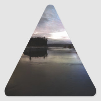 Ruby Beach Sunset Reflection Triangle Sticker