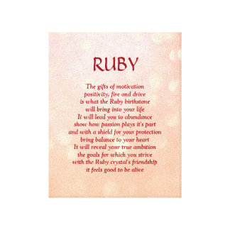Ruby birthstone - July poem art canvas