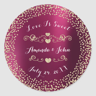 Ruby Burgundy Glitter Save the Date Love is Sweet Round Sticker