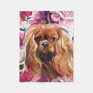 'Ruby' Cavalier dog art fleece blanket Small