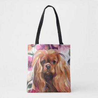 'Ruby' Cavalier dog art tote bag