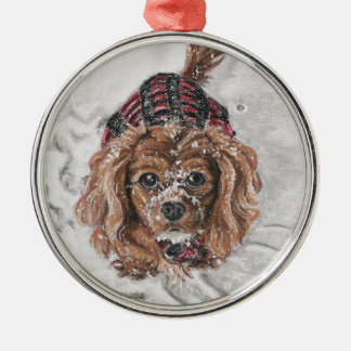 Ruby Cavalier King Charles Spaniel in the snow Metal Ornament