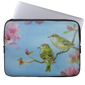 Ruby Crowned Kinglet Bird Friends Pink Flowers Laptop Sleeve