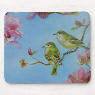 Ruby Crowned Kinglet Bird Friends Pink Flowers Mouse Pad
