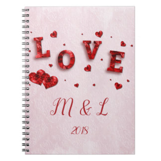 Ruby Crystal Love and Hearts Notebook