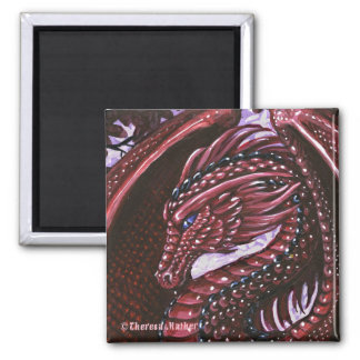 Ruby Dragon Square Magnet
