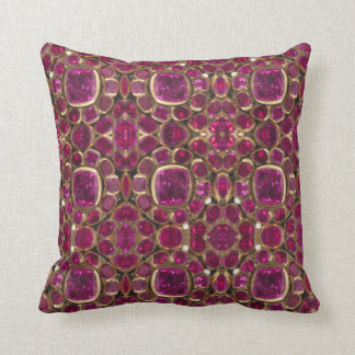 Ruby Gold Gemstone Pattern Elegant Chic Cushion