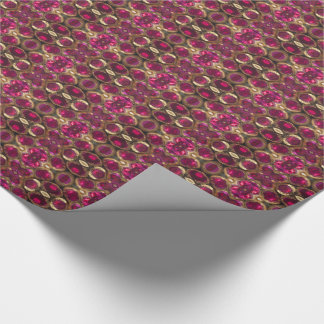 Ruby Gold Gemstone Pattern Elegant Chic Festive Wrapping Paper