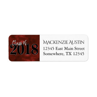Ruby Graduation | Red Black White Modern Address Return Address Label