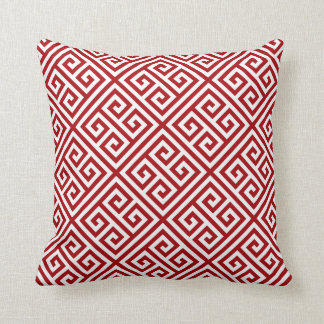Ruby Greek Key Pattern Throw Pillow